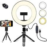 Creatck 20 cm LED-ringlampa med stativhållare, dimbar 3 ljuslägen och 10 ljusstyrka selfie skrivbord sminklampa med…