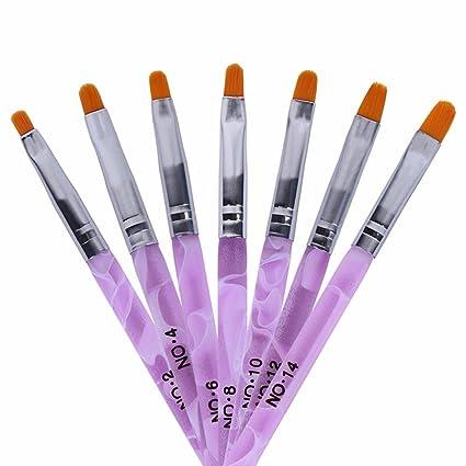 TRIXES 7 Pinceles Uñas Acrilicas de Manicura para Aplicar Gel UV o Decorar Uñas Postizas Acrílicas