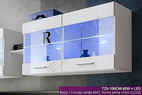 Mensole Per Ufficio : Bianco montaggio a parete mensole in vetro unità display lucido