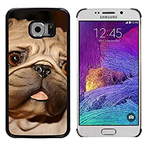 KOKO CASE / Samsung Galaxy S6 EDGE SM-G925 / pug tongue big brown eyes dog small / Slim Black Plastic Case Cover Shell Armor