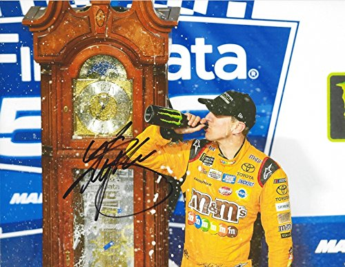 AUTOGRAPHED 2017 Kyle Busch #18 M&Ms Halloween MARTINSVILLE RACE WIN (Grandfather Clock) Monster Energy Cup Series Signed Collectible Picture NASCAR 9X11 Inch Glossy Photo with COA from Trackside Autographs