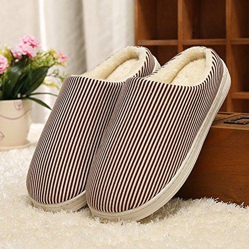 Y-Hui Home caldo cotone pantofole, gli amanti di inverno caldo colore solido, fondo spesso Home pantofole di cotone,40/41 Codice,caffè
