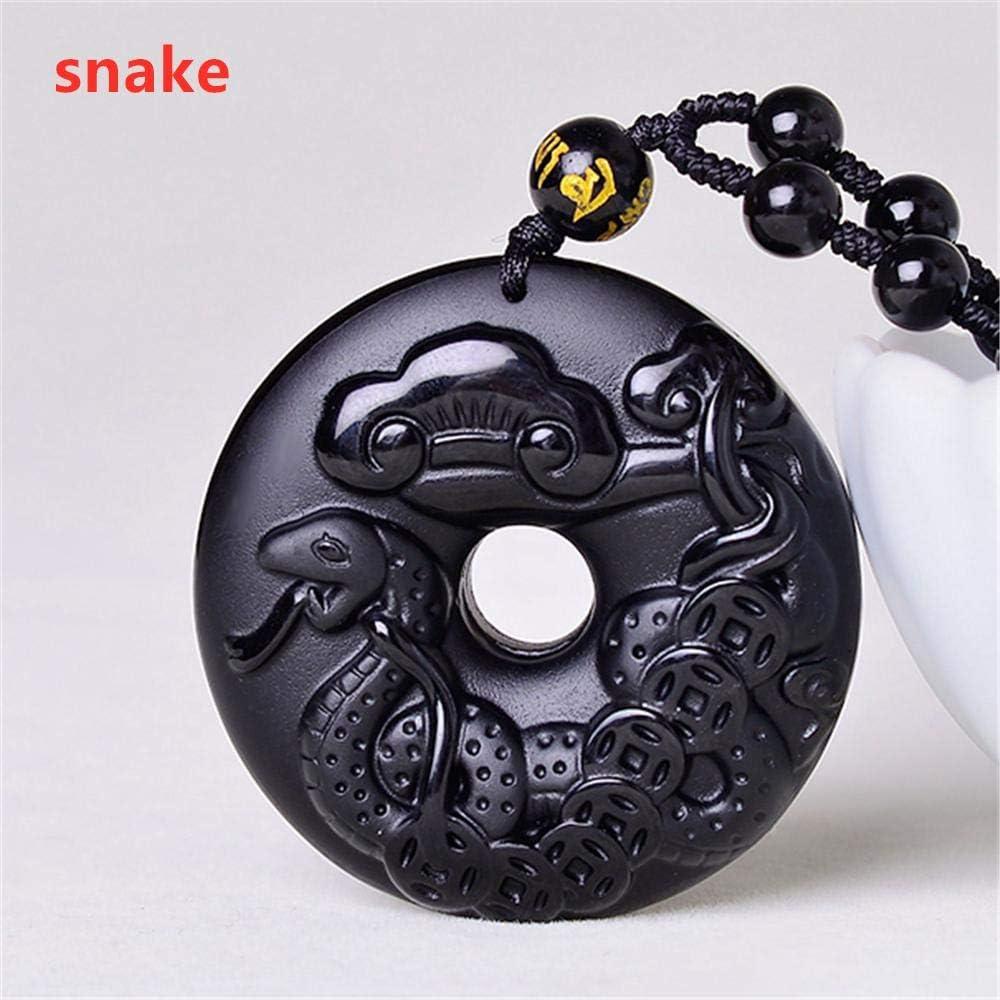VFJLR Colgante Obsidiana Natural China 12 Collar de Mascota Colgante Animal Tallado a Mano Negro Collar de Piedras Preciosas Hombres y Mujeres Colgante Amuleto de la Suerte
