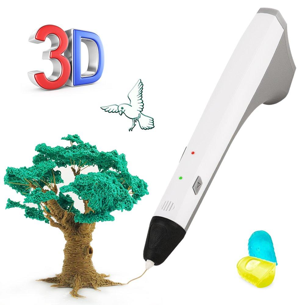 3D Pen, 3D Printing Pen for 3D Modeling, Education, Bonus 2 Free 1.75mm PCL Filament, 3D Drawing Printing Penfor Kids Adults Arts Crafts DIY (White)