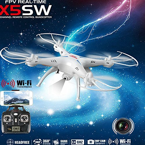 -Axis Gyro Headless Support Mobile Phone Apple IOS Android Wi-Fi Wifi Control FPV HD 0.3MP Camera 360-degree 3D Rolling Mode 2 RTF RC Quadcopter White ()