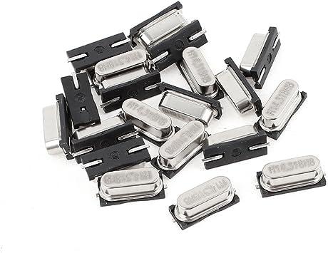 Aexit 20 Pcs Passive Components HC-49S 14.318MHZ 20PF SMD Crystal Oscillators Crystals Silver Tone