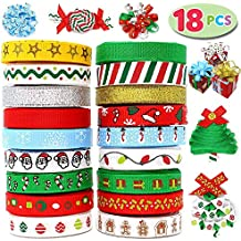 Joiedomi 18Pcs Christmas Ribbons; 90 Yard Grosgrain Satin Fabric Ribbons for Christmas Holiday Gift Box Wrapping, Hair Bow Clips, Gift Bows, Craft, Sewing, Wedding, Baby Shower and Wine Decoration