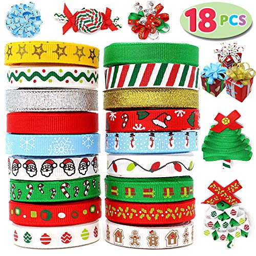 18Pcs Christmas Ribbons; 90 Yard Grosgrain Ribbon