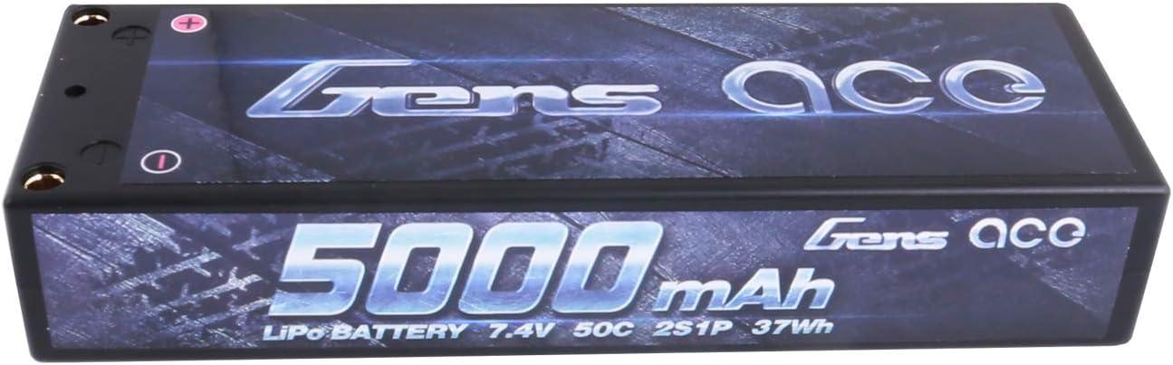 Gens ace B-50C-5000-2S1P-HardCase-10, Batería Lipo 2S (7.4V) 5000mAh 50C Caso duro con el enchufe de Deans T para RC Carro, avión, helicóptero, coche, Multicolor