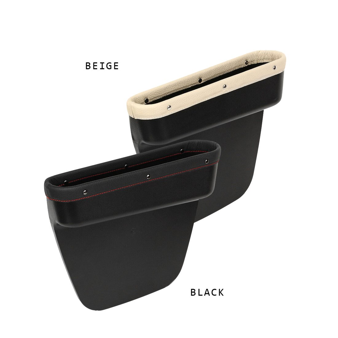Black+Beige Pack of 1 PU Leather Car Seat Gap Filler Organizer Catcher with Cup Holder Console Side Pocket