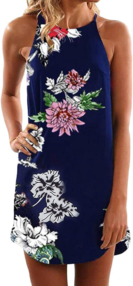 Serzul Women Summer Halter Neck Floral Print Sundress Sleeveless Casual Mini Dress Boho Short Flower Dresses