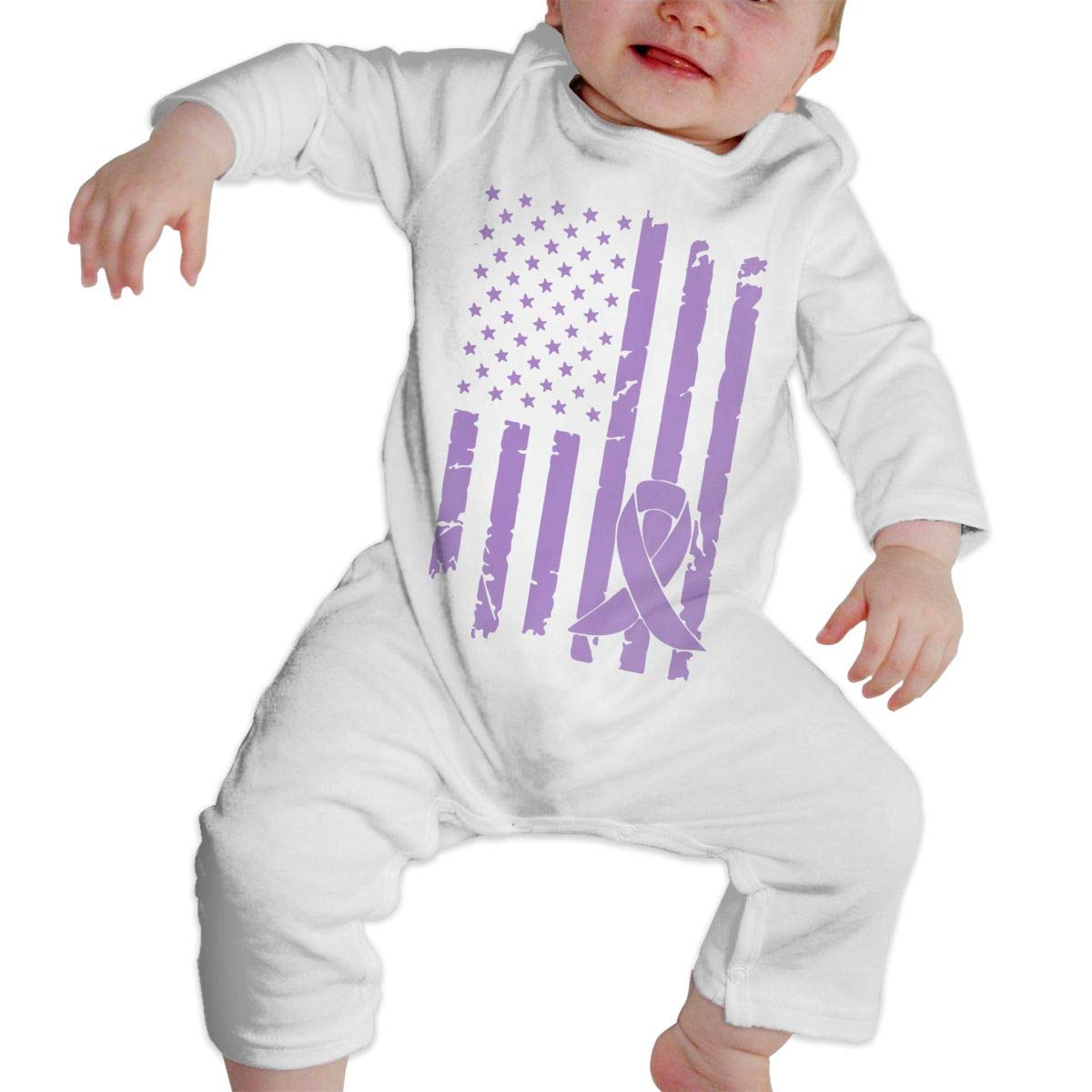 A1BY-5US Infant Babys Cotton Long Sleeve Lupus Cancer Awareness USA Flag Climb Jumpsuit One-Piece Romper Clothes