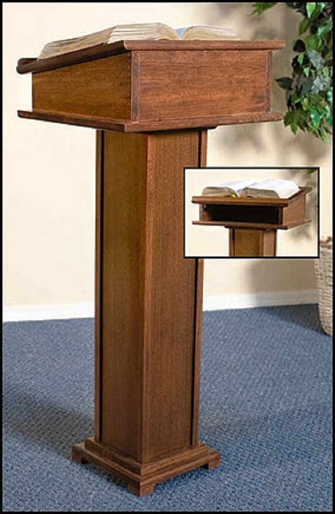 Religious & Christian, Church Furniture, Lectern with Shelf - Walnut Stain
