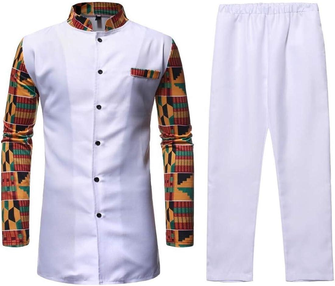 Fubotevic Mens African Print Dashiki Long Sleeve Plus Size Mid Length Dress Shirts Tops