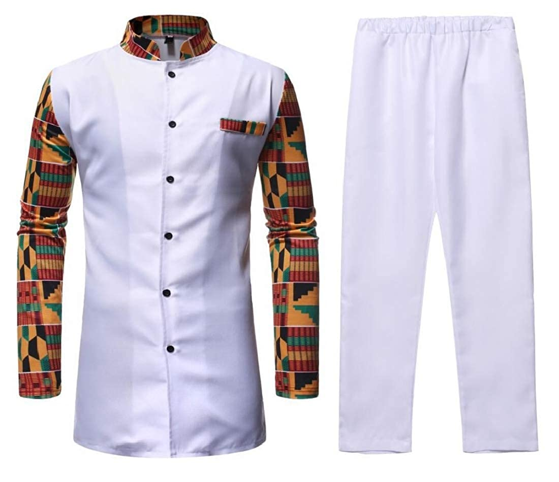 SHOWNO Mens African Print Dashiki Mid Length Mandarin Collar Two Piece Suit Outfits Button Down Shirts