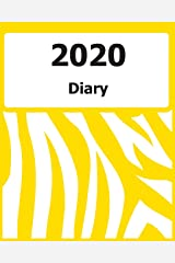 "2020 Diary: Large Print, (Yellow Zebra Pattern Cover) - 8"" x 10"" - Months, Important Dates, Weekly Planner - Simple layout. Large Print. Easy to use for visually impaired Paperback"