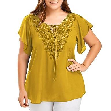 OHQ Camisetas Mujer Verano Blusa Camiseta De Encaje De Gran ...