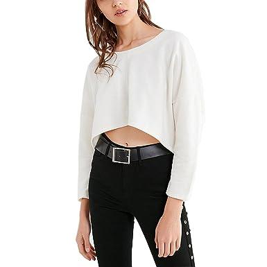 Germinate Weiss Sweatshirts Damen Sommer Casual Pullover Langarmshirts  Frauen Oversize (Weiß, S) e82c59222a