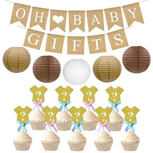 Amazon Com Rustic Baby Shower Decorations Set Oh Baby Banner For