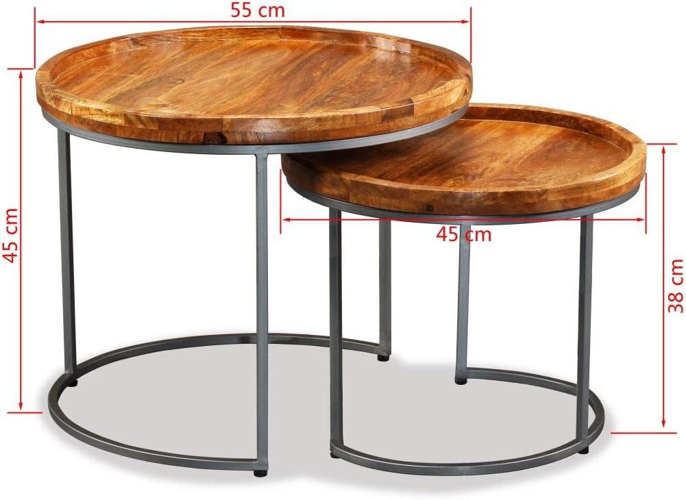 mewmewcat 2 pcs Ensemble de Tables dAppoint Tables Basses en Bois de Manguier Massif de Style Industriel
