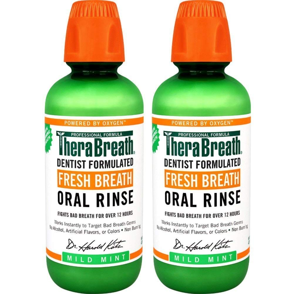 TheraBreath Fresh Breath Oral Rinse, Mild Mint, 16 Ounce Bottle (Pack of 2) 61zxd9dFmNL