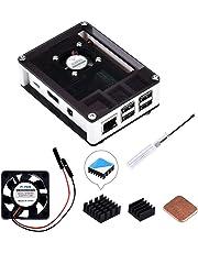 GeeekPi Raspberry Pi 3 B+ Case, Raspberry Pi Case with Fan, Raspberry Pi Heatsink for Raspberry Pi 3 Model B+, Raspberry Pi 3/2 Model B (White and Black)