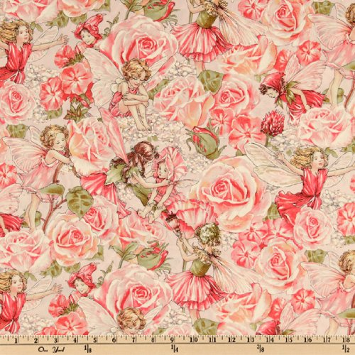 Rose Garden Fabric - Michael Miller Flower Fairies Sweet Garden Metallic Fabric by the Yard, Rose