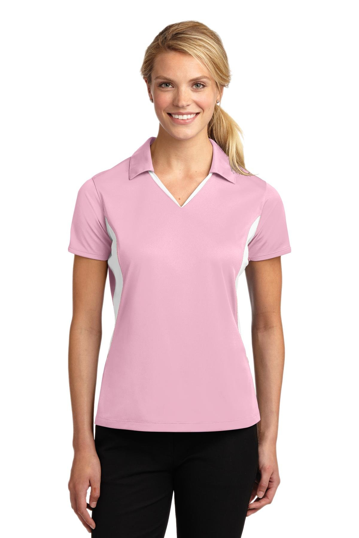 Sport-Tek Women's Side Blocked Micropique Sport Wick Polo, Light Pink/White, XXXX-Large