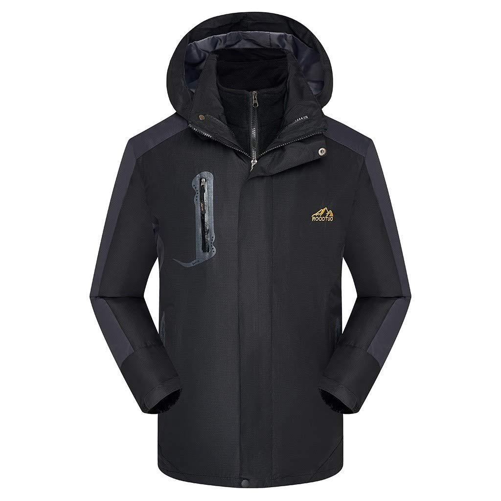 Redacel Men's Outdoor Sports Hooded Windproof Jacket Mountain Waterproof Ski Jacket Windproof Rain Jacket (Black,5XL) by Redacel