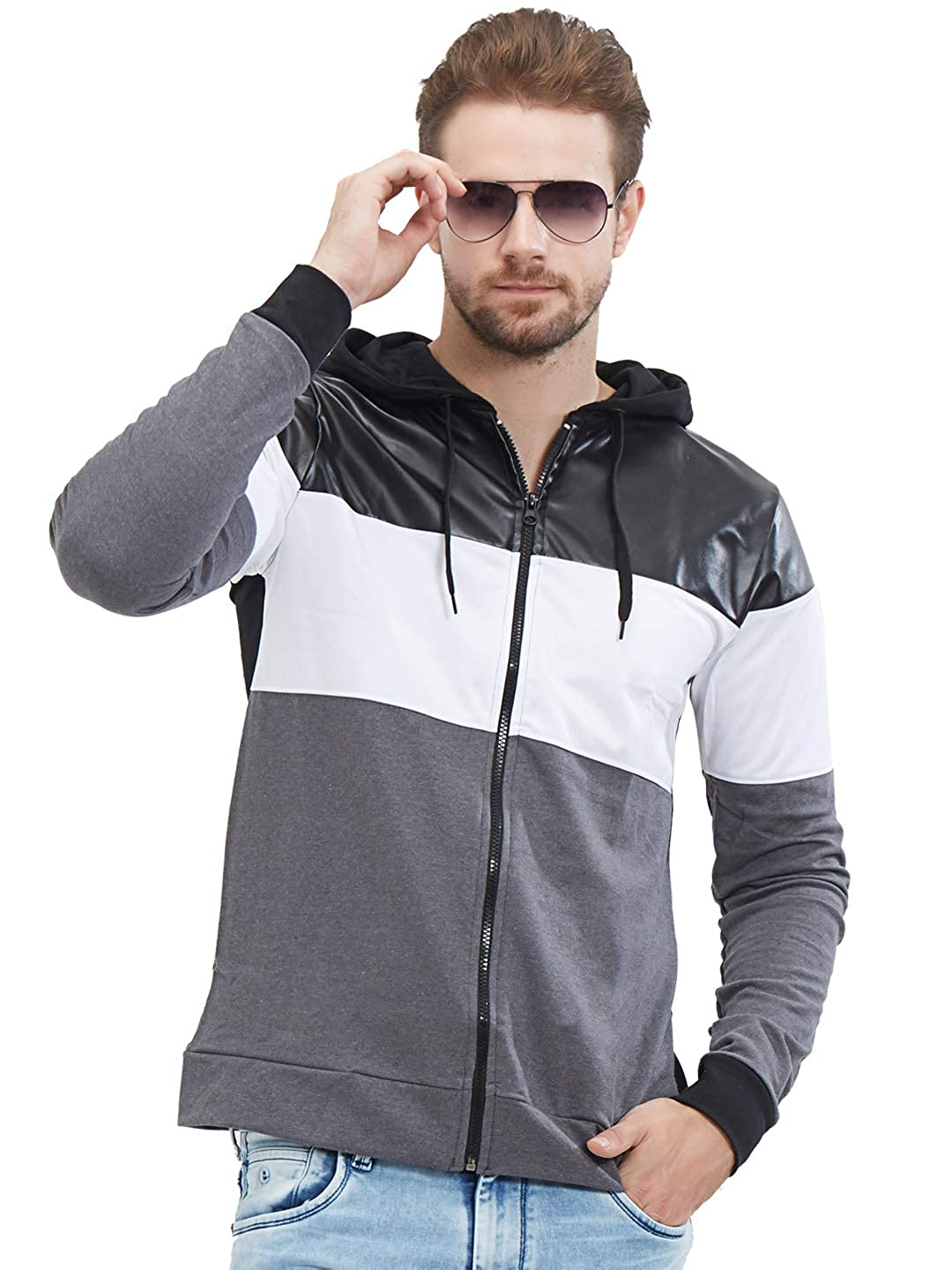 LEWEL Men's Stylish, Young & Trendy Faux Leather/Rexin, Superpoly & Loopknit Hooded Black, White & Grey Jacket