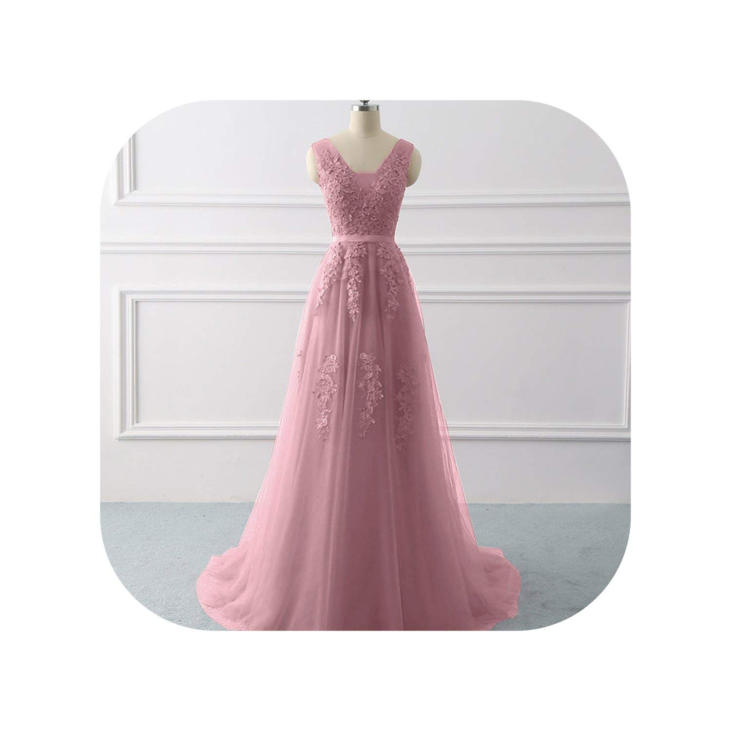 Dark Pink Royal bluee Evening Dress Formal Party Dresses Appliques lace Prom Gown Dress Bridal Vestido