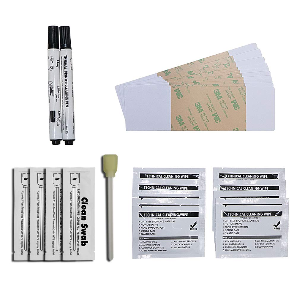 DTC1000, DTC4000, Dtc4500, DTC150, DTC4250, DTC425E, C50 ID Card Printer Cleaning Kit,Pack 10 Cleaning Cards 10 Cleaning Wipes 4 Cleaning Swabs 2 Cleaning Pens CK-F86177