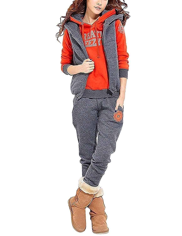 YIPIN Tuta da Ginnastica Donna 3 Pezzi Completi Sportivi Autunno Invernale Accollato Pullover Hoodie Giacca Gilet+Felpa con Cappuccio+Pantaloni Casual