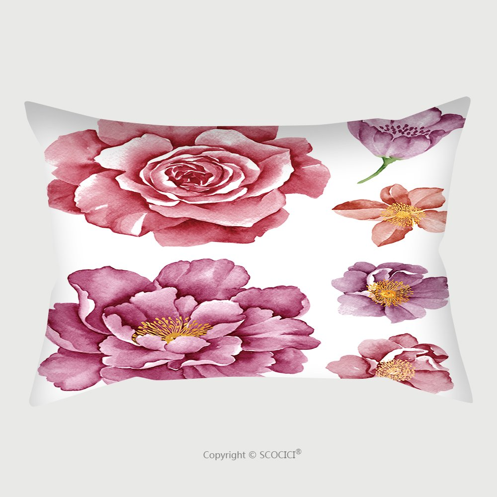 Custom Satin Pillowcase Protector Watercolor Illustration Flower Set In Simple White Background 206174065 Pillow Case Covers Decorative
