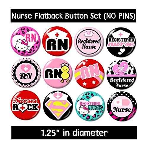 REGISTERED NURSE FLATBACK BUTTONS - NO PINS cute gifts nurse nursing rn jewelry supplies badge medical new