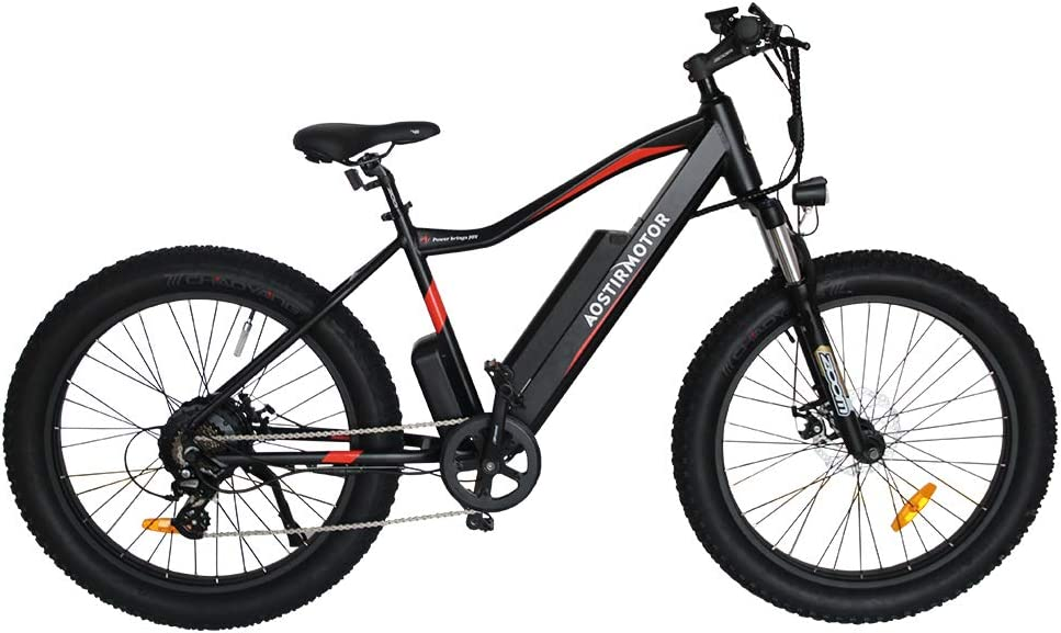"AOSTIRMOTOR Electric Mountain Bike, 26"" 4.0 inch Fat Tire Ebike, 48V 10.4AH Removable Lithium Battery,750W Motor, Electric Bicycle for Adults (Black)"