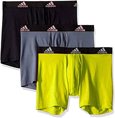 Separar Despertar agua  Amazon.com: adidas Men's Performance Boxer Briefs Underwear 3-Pack,  Black/Gray/Yellow, X-Large: Clothing