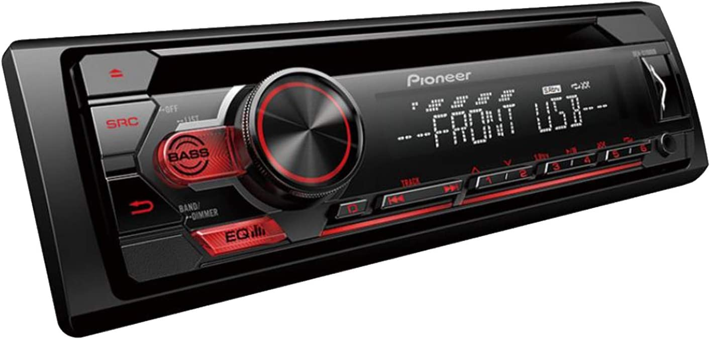 Speaker Wire Pioneer in-Dash Single-DIN CD Player AM//FM Car Stereo USB AUX Receiver Bundle Combo with 2 x Kicker CS-Series 6x9 3-Way 4-Ohm Car Audio Speakers 16-Gauge 50Ft