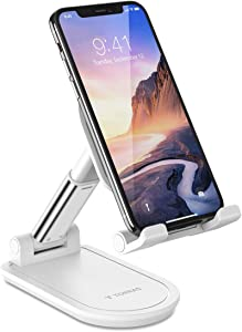TORRAS Foldable Cell Phone Stand for Desk [Ultra-Portable], Adjustable Phone Holder for Office/Home, Phone Dock Compatible for iPhone 11 Pro Max Xs Xr X, Samsung Galaxy S20+Ultra Note 10, iPad Mini