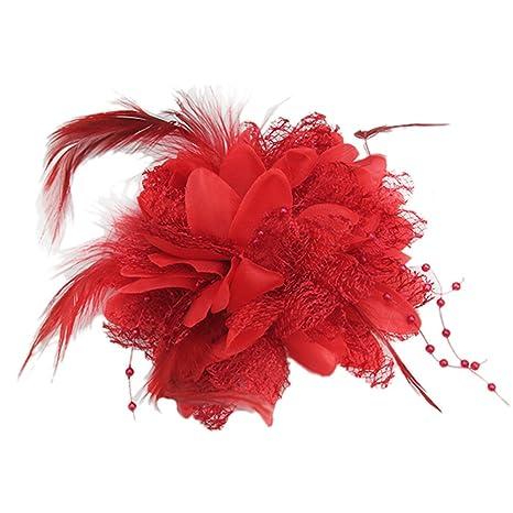 promotion spéciale mignon pas cher détaillant Pince à Cheveux Barrette Fleurs Rouge Accessoire Fleur Bande Mariage Mariée