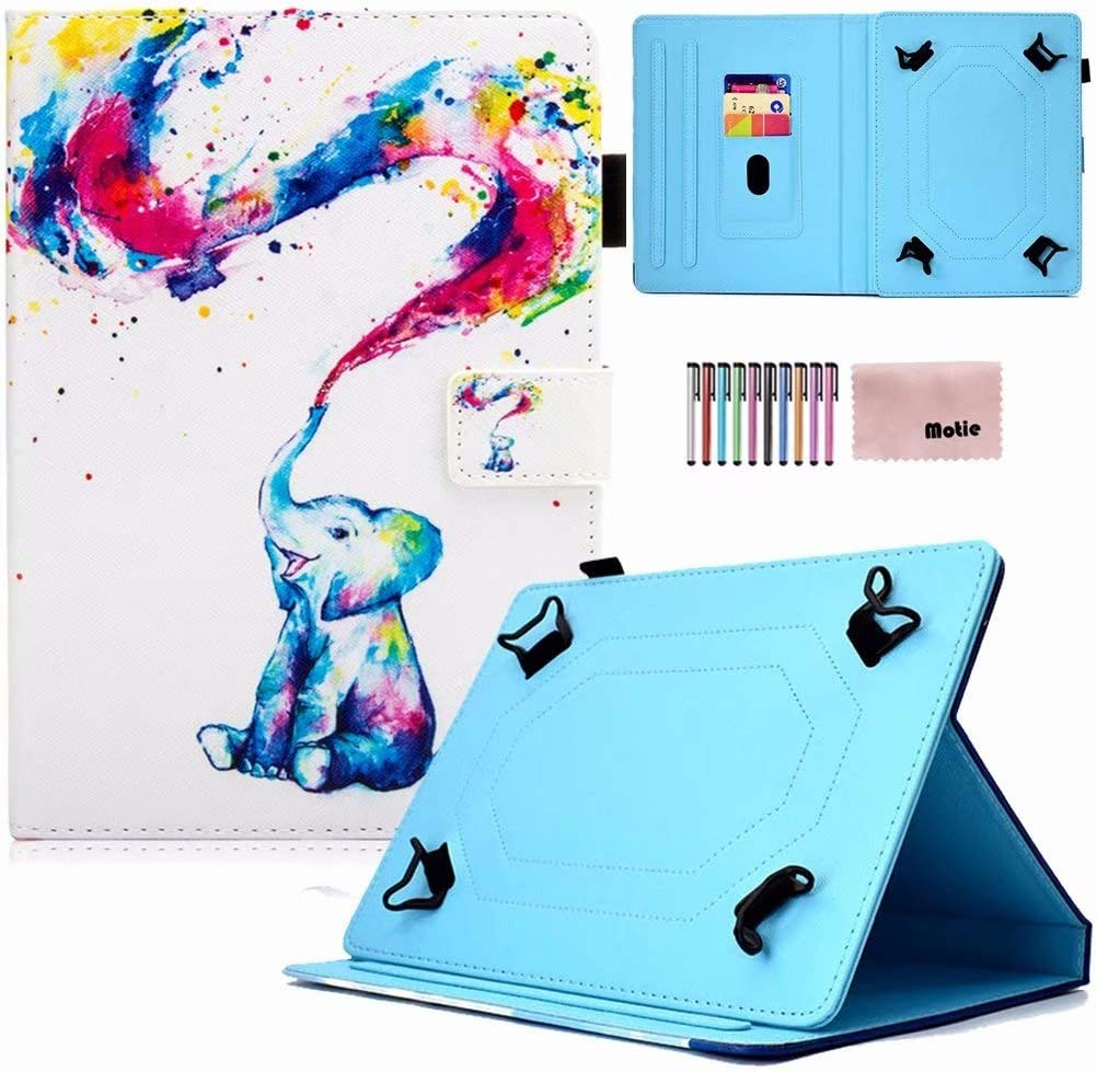 8.0 inch Tablet Case, Mptie Universal Protective PU Leather Case Cover for All 7.5-8.5 inch iPad Mini 1 2 3 4 5,Galaxy Tab A 8.0/Tab E 8.0, F ire HD 8 and More (Elephant Baby)