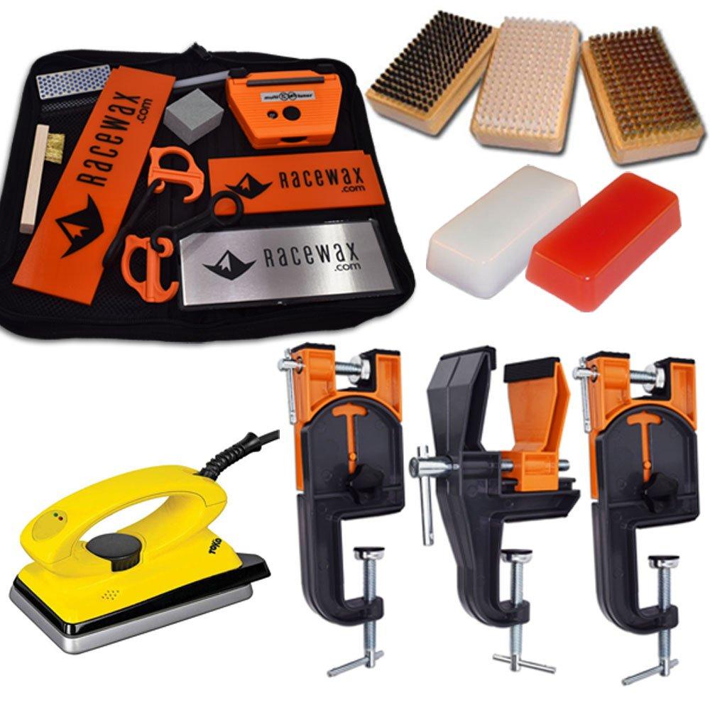 RaceWax Ski Tune+ Race Kit: 3 Piece Vise, Iron, 3 Brushes Tools Wax by RaceWax