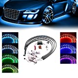 7 color led car lights - Xprite 7 Color New Version 5050 SMD High Intensity LED Car Underglow Underbody System Neon Strip Lights Kit w/Sound Active Function and Wireless Remote Control
