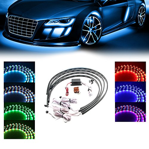 Xprite 7 Color New Version 5050 SMD High Intensity LED Car Underglow Underbody System Neon Strip Lights Kit w/Sound Active Function and Wireless Remote Control