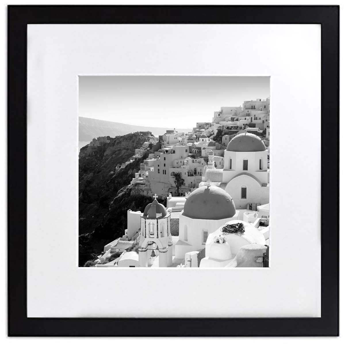 Golden State Art, Smartphone Instagram Frame Collection, 12x12-inch Square Photo Wood Frames with Photo Mat & Real Glass for 8x8-inch Pictures, Black by Golden State Art