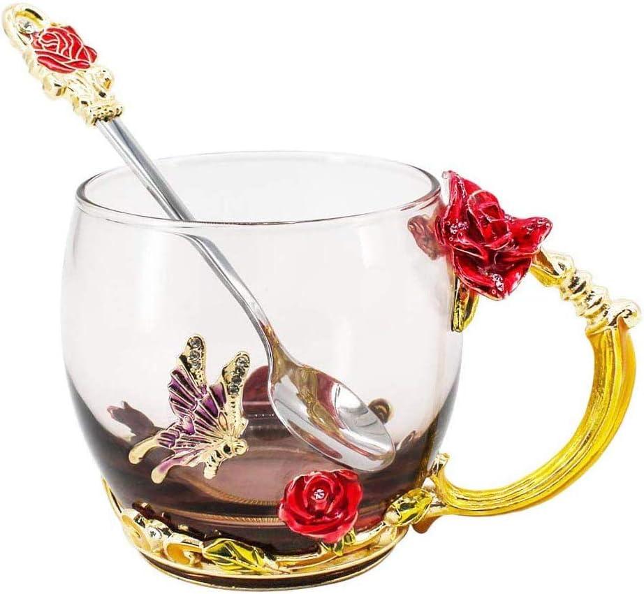 Baoniansoo Tazas de té de Flores, patrón de Rosa de Color de Esmalte Resistente a Altas temperaturas, para Regalos de cumpleaños de Navidad de Aniversario de Bodas de Amigo