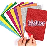 Jiada Self-Adhesive Glitter Foam Sheets Sticky Back Foam Sheets, Pack of 10