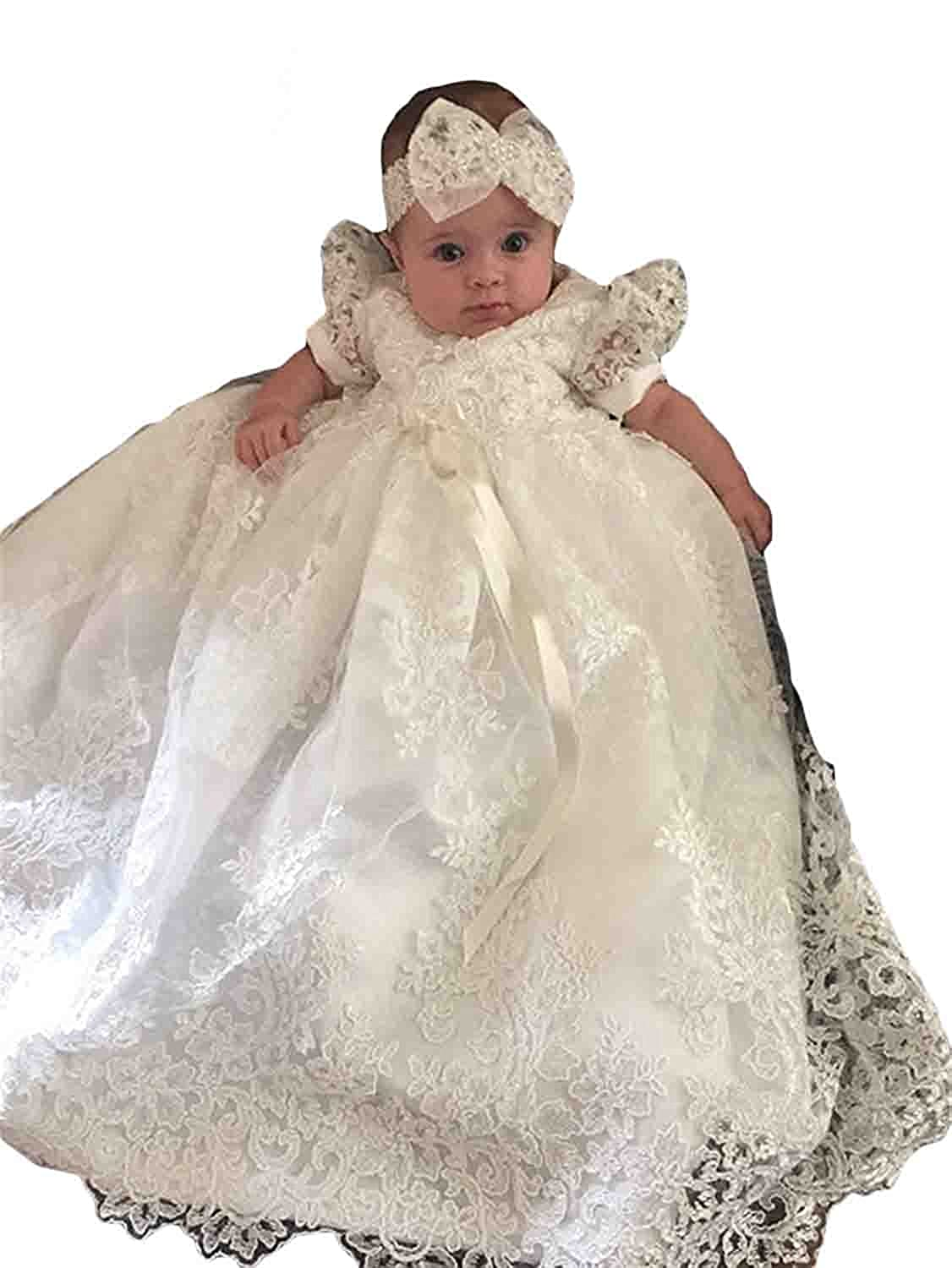 AMG department Baby Girls Bowknot White and Ivory Christening Gowns Long