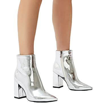 e04e923df15 PUBLIC DESIRE Womens Empire Pointed Toe Ankle Boots Flared Block Heel Shoes Silver  Metallic Patent UK