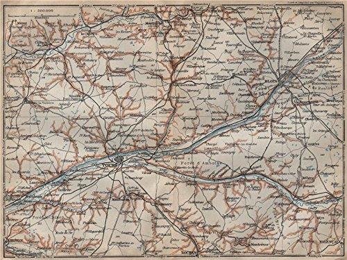 (LOIRE VALLEY/CHATEAUX. Tours Blois Chinon Cher carte. BAEDEKER - 1909 - old map - antique map - vintage map - Loire map s)